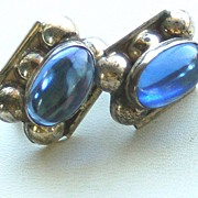 1940's LOS BALLESTEROS Pre Eagle Sterling Silver Screwback Earrings With Blue Stone