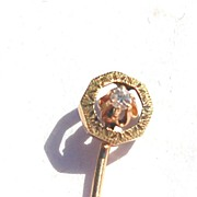 Victorian Era 14K Yellow Gold And Diamond Stick Pin