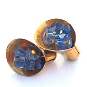 Early STERLING SILVER Vermeil Screwback Earrings, Blue Glass Centers