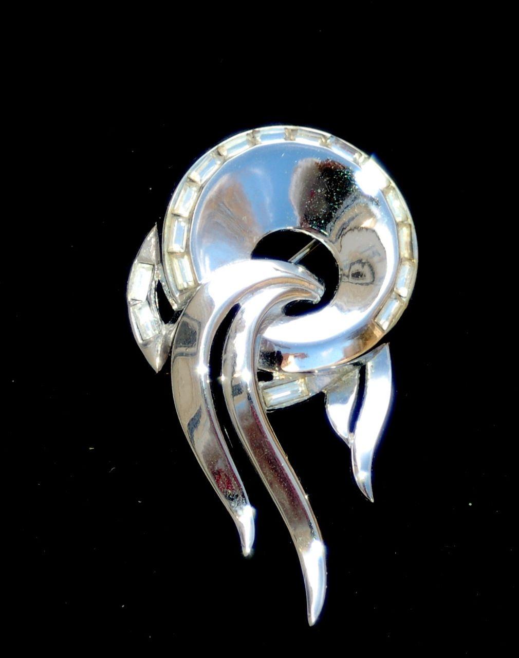 Vintage Signed CROWN TRIFARI Silver Tone Rhinestone Pin, Pat Pend