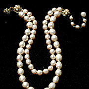 Vintage Signed MIRIAM HASKELL Faux Baroque Pearl Double Strand Necklace