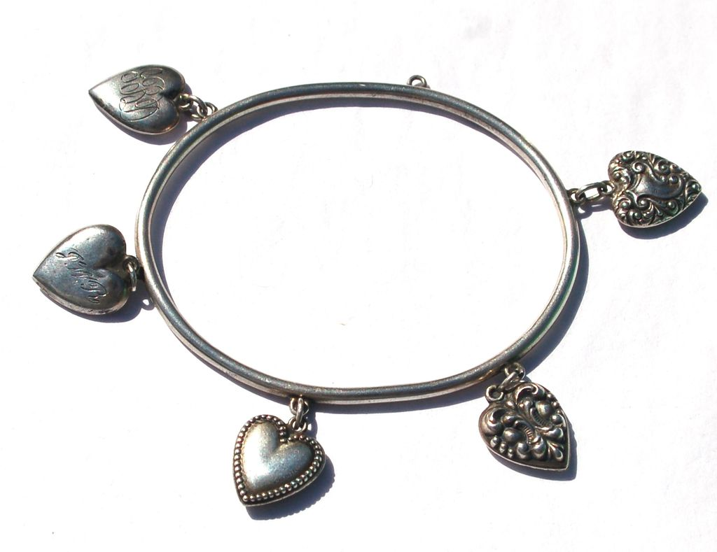 RARE Victorian Puffy Heart Sterling Rigid Bangle Bracelet, 5 Puffy Heart Charms