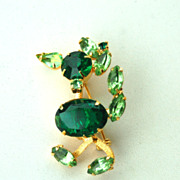 Vintage Duck TREMBLER Pin, Green Rhinestones, Open Backs, No Foiling