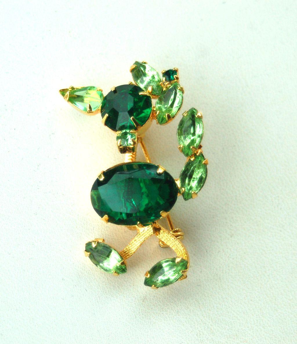 Vintage Duck TREMBLER Pin, Green Rhinestones, Open Backs, No Foiling