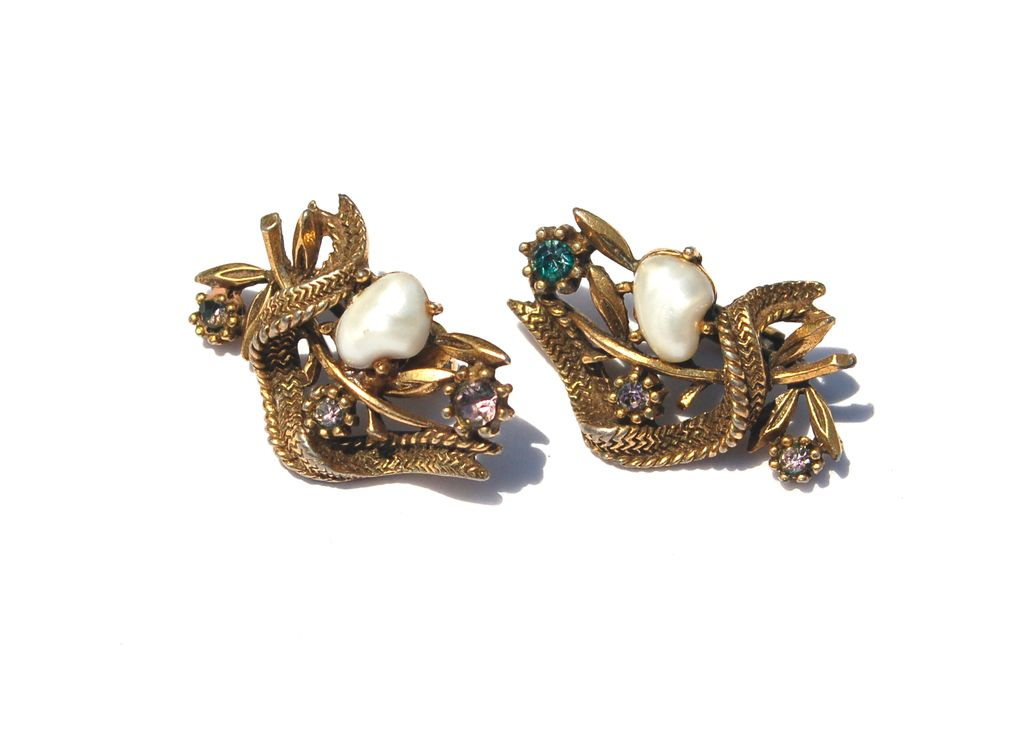 Vinatge Signed CORO Baby Tooth Faux Pearl and Rhinestone Clip Earrings