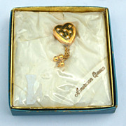 "RARE Pitmann & Keeler ""American Queen"" Sweetheart Heart Shaped Pin, Original Box"