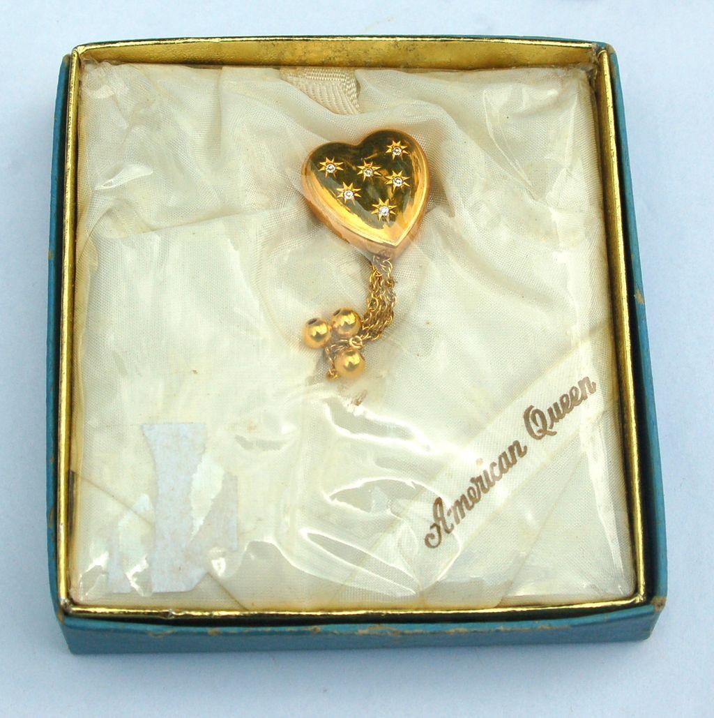 "RARE Pitmann & Keeler ""American Queen"" Sweetheart Heart Shaped Pin, Original Box"