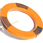 Vintage Butterscotch Plastic and Copper Metal Accent Bracelet