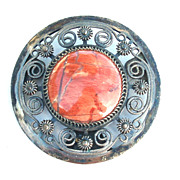 Vintage RUSSIAN Sterling Silver and Agate Stone Pin