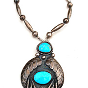 "119 Grams STERLING SILVER Bench Bead 30"" Necklace and Turquoise Huge Pendant"