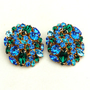 Fabulous Vintage HUGE Green and Blue Rhinestone Earrings