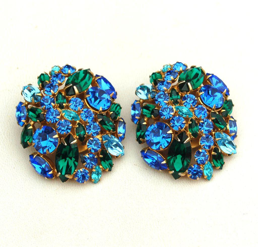 Fabulous Vintage HUGE Green and Blue Rhinestone Earrings