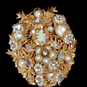 Vintage Signed EUGENE Faux Pearl, Seed Pearl and Rhinestone Pin