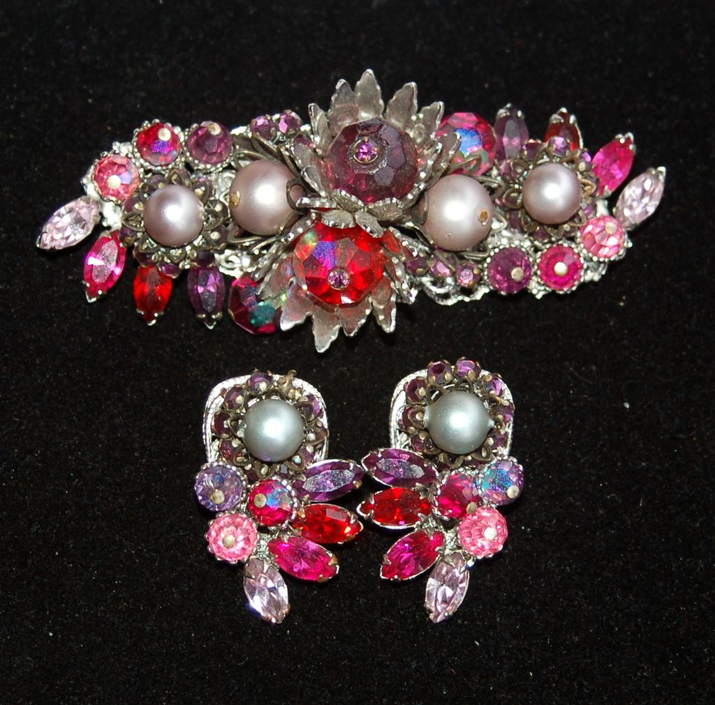 Vintage Signed EUGENE Red, Pink and Purple Rhinestone Demi, Pin Clip Earrings