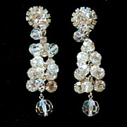 Vintage JULIANA (DeLizza and Elster) Huge Crystal and Rhinestone Earrings