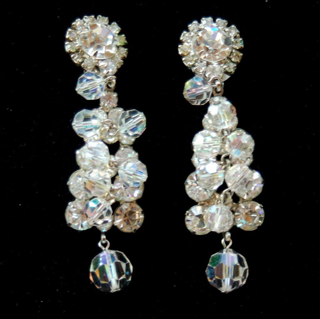 Vintage JULIANA (DeLizza and Elster) Huge Crystal and Rhinestone Earrings