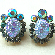 Vintage JULIANA (DeLizza and Elster) Blue Molded Glass Rhinestone Earrings
