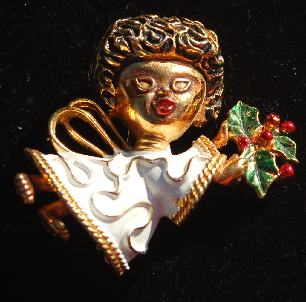 Vintage Signed COREL Enameled Christmas Angel Pin