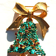 Vintage Signed MYLU Rhinestone and Smooth Bow Christmas Bell Pin