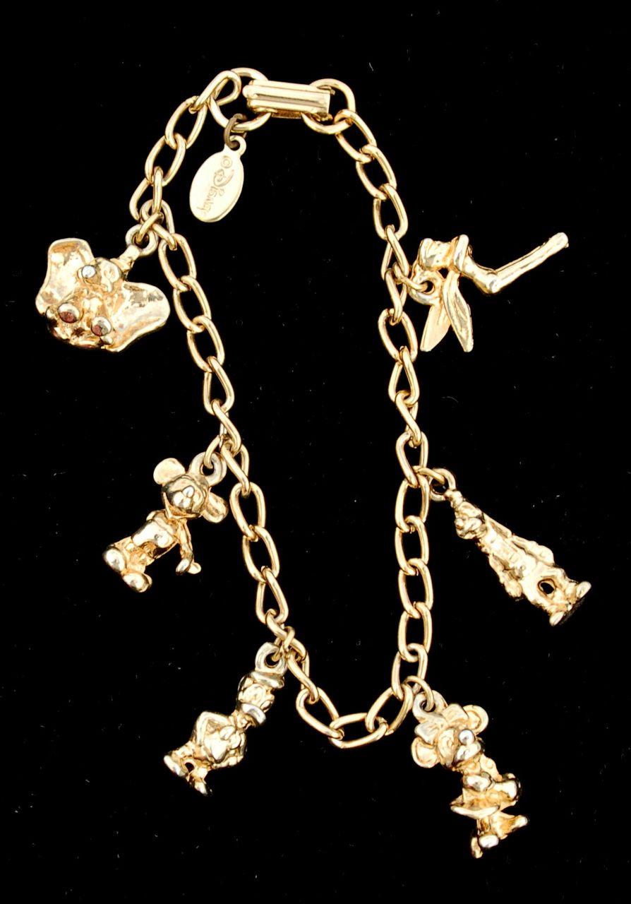 Vintage DISNEY Gold Toned Charm Bracelet 6 Dimensional Charms