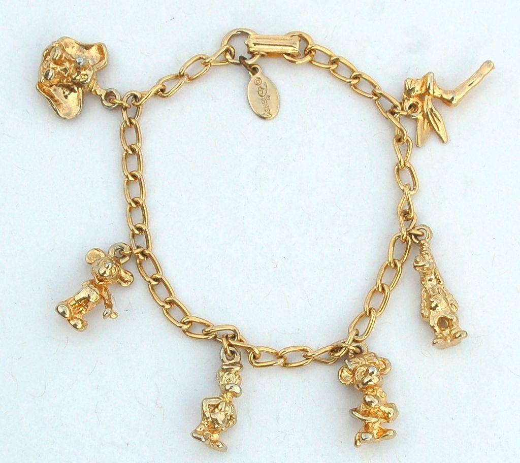 vintage disney gold toned charm bracelet 6 dimensional