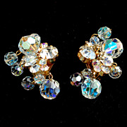 Vintage JULIANA (DeLizza and Elster) Crystal and Rhinestone Clip Earrings