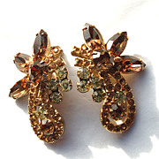 Vintage JULIANA (DeLizza and Elster) Huge Amber and Pale Yellow Rhinestone Earrings