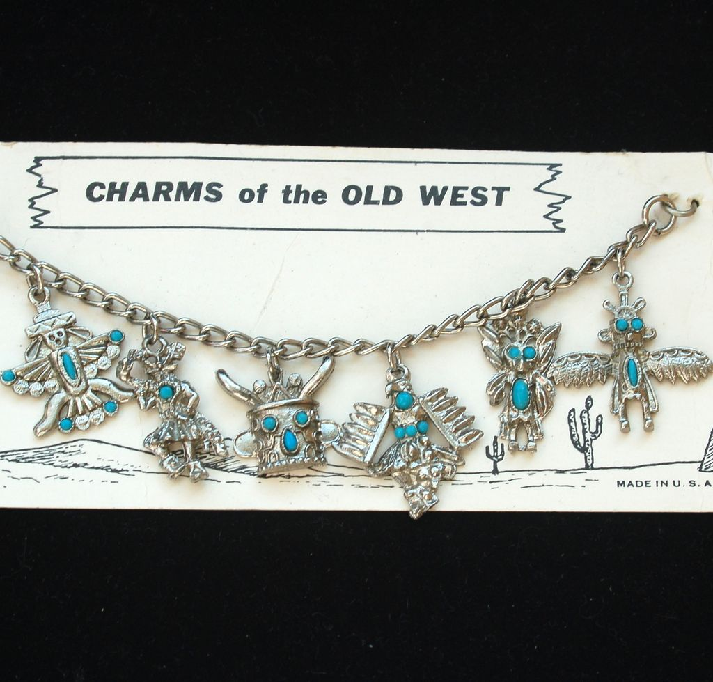 Vintage Faux Turquoise And Silver Tone Native American Charm Bracelet Sold Ruby Lane
