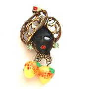 Vintage Enameled Blackamoor Pin With Dangling Art Glass