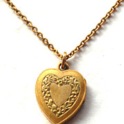 Art Nouveau Era 12K Yellow Gold Filled Heart Locket Necklace