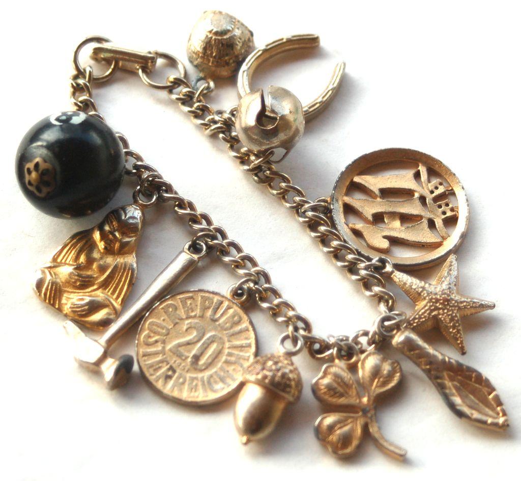 Vintage Chunky Gold Toned Charm Bracelet, Snake Head, Dice, Buddha, 8 Ball LUCKY