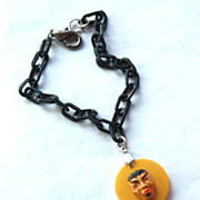 Vintage Butterscotch Bakelite Asian Oriental Man Bracelet