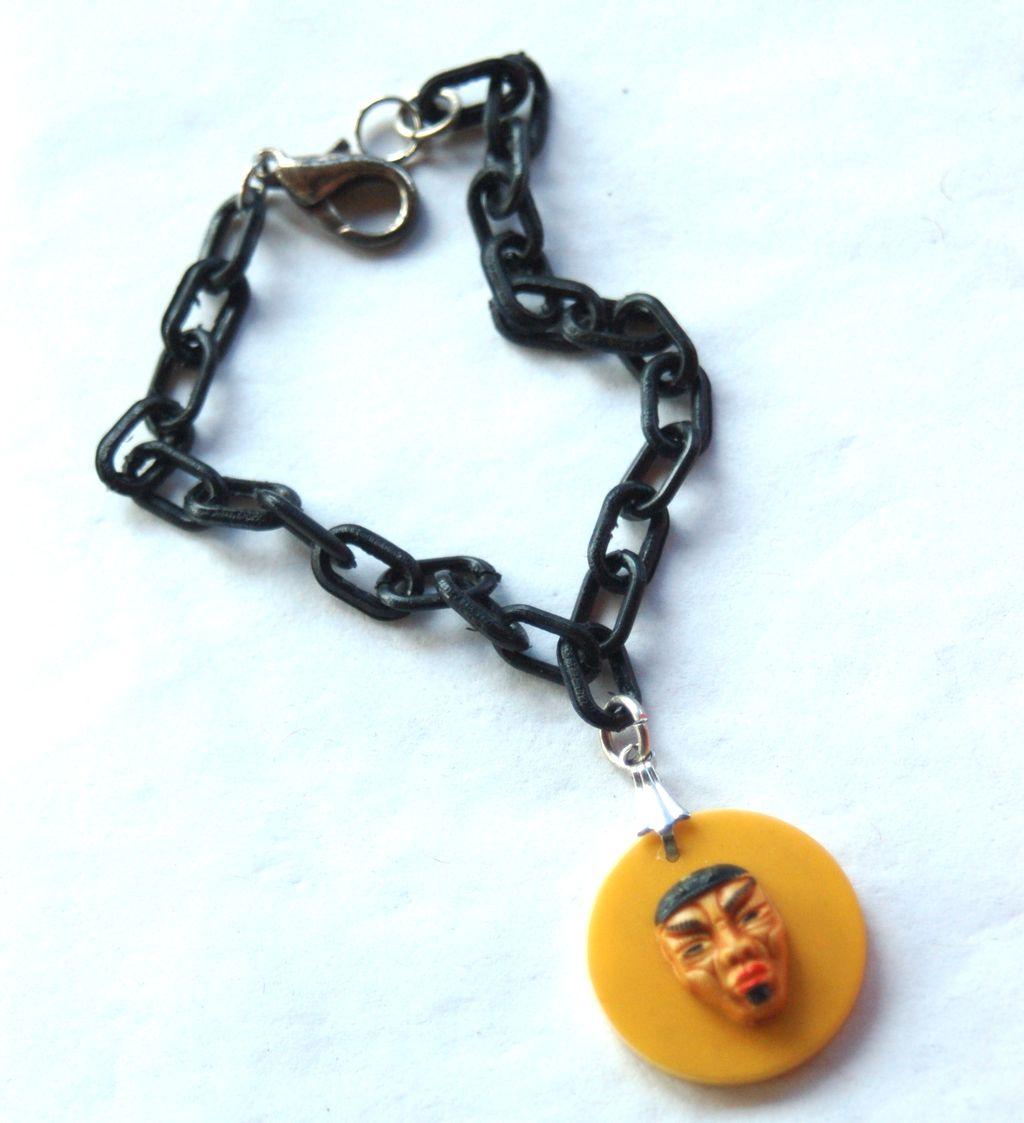 Vintage Butterscotch Bakelite Asian Oriental Man Bracelet