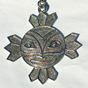 Vintage Sun With Face Pendant Necklace Chain
