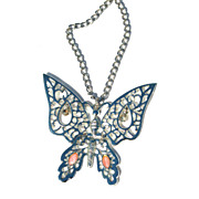 Vintage Articulated Butterfly Necklace, Dangling Rhinestone Eyes, Pink Navette Accents