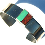 Vintage Signed CELEBRITY Modernist Cuff Bracelet, Wood and Enameled Turquoise Metal