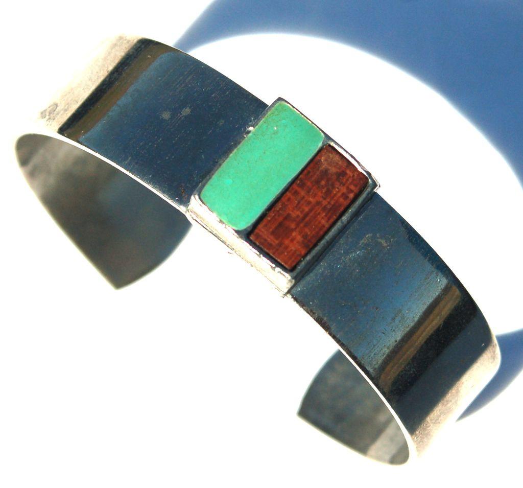 Vintage Signed CELEBRITY Modernist Cuff Bracelet, Wood and Enameled Turquoise Metal