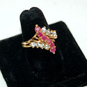 Huge Ruby Red and Clear 18K HGE Costume Cocktail Ring