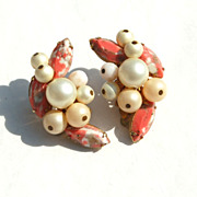 Vintage Signed EUGENE Coral Rhinestone, Faux Pearl and Crystal Clip Earrings