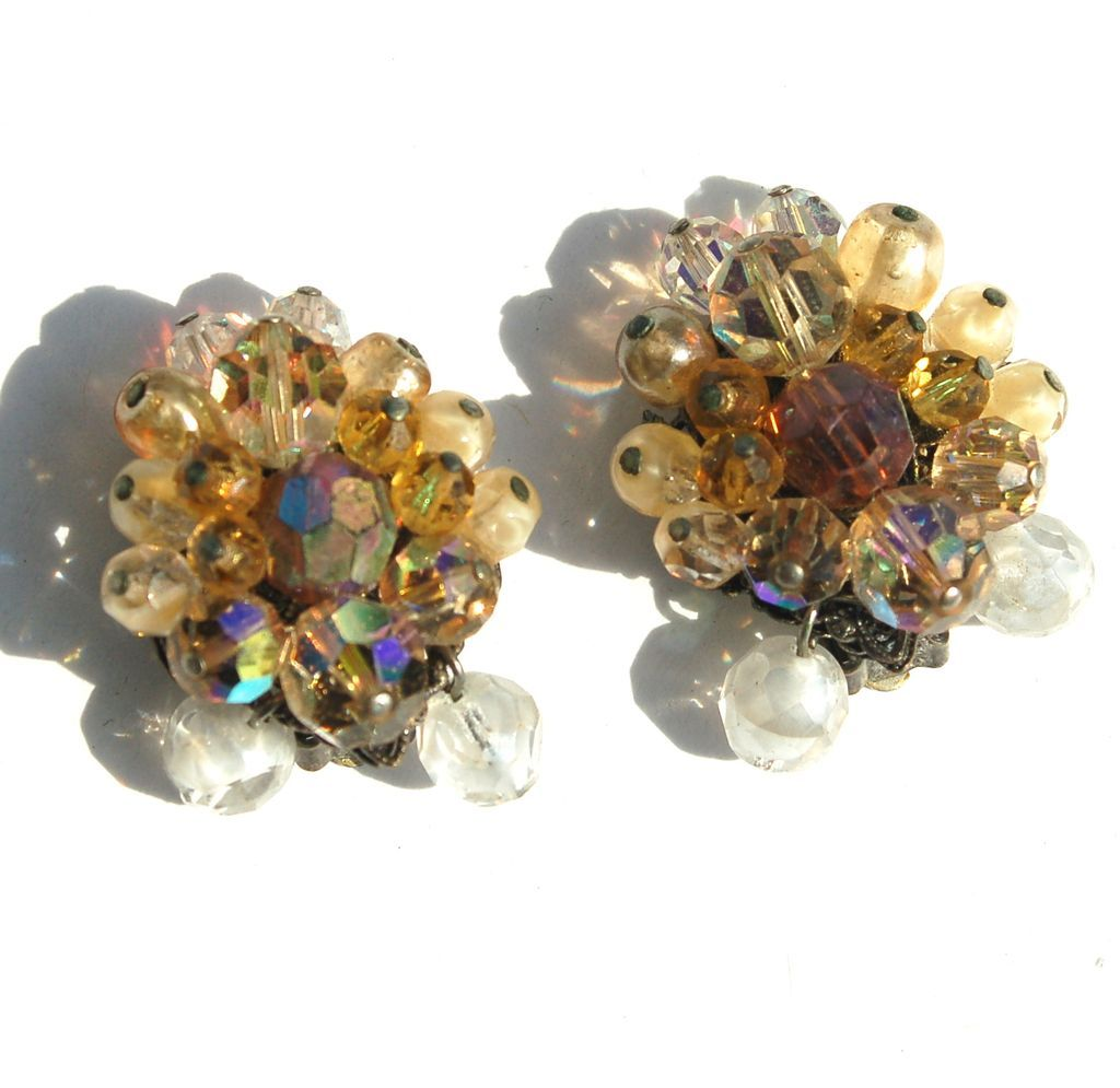 Vintage Signed EUGENE Yellow and Clear Crystal Clip Earrings with Drops