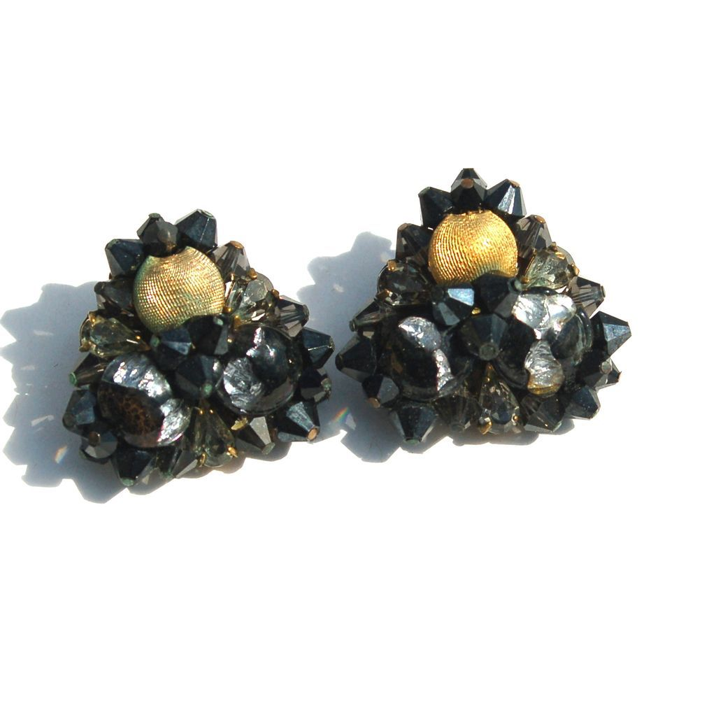 Vintage Signed EUGENE Black Silver Art Glass and Crystal Clip Earrings