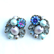 Vintage Signed EUGENE Shades of Blue Rhinestone, Crystal, Pearl Clip Earrings