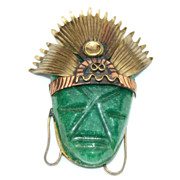 Vintage Modernist MEXICO Mixed Metal Pendant With Green Stone Face