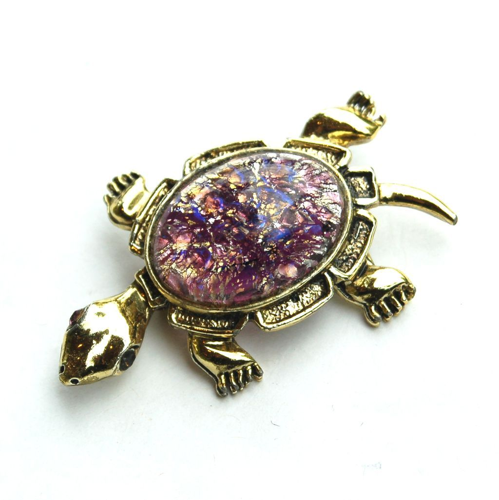 Vintage Cats Eye Glass Stone TURTLE Pin