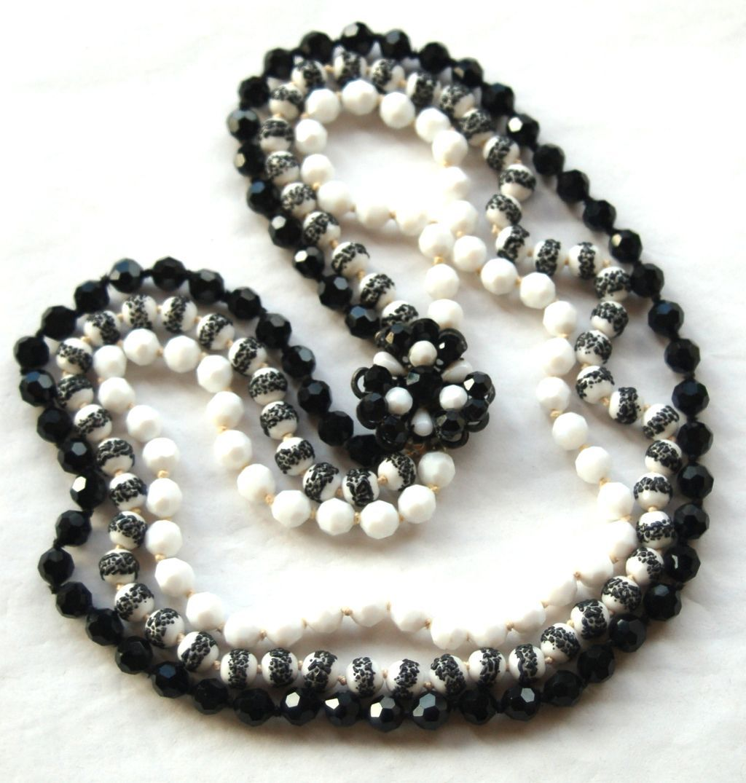 Vintage Signed EUGENE 3 Strand Crystal Glass Necklace, Black and White