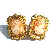 Early Hand Carved Shell Cameo Screwback Earrings