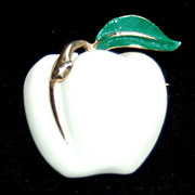 Vintage Signed PASTELLI White Enameled Apple Pin