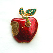 Vintage Enameled Apple Pin With Trembler WORM