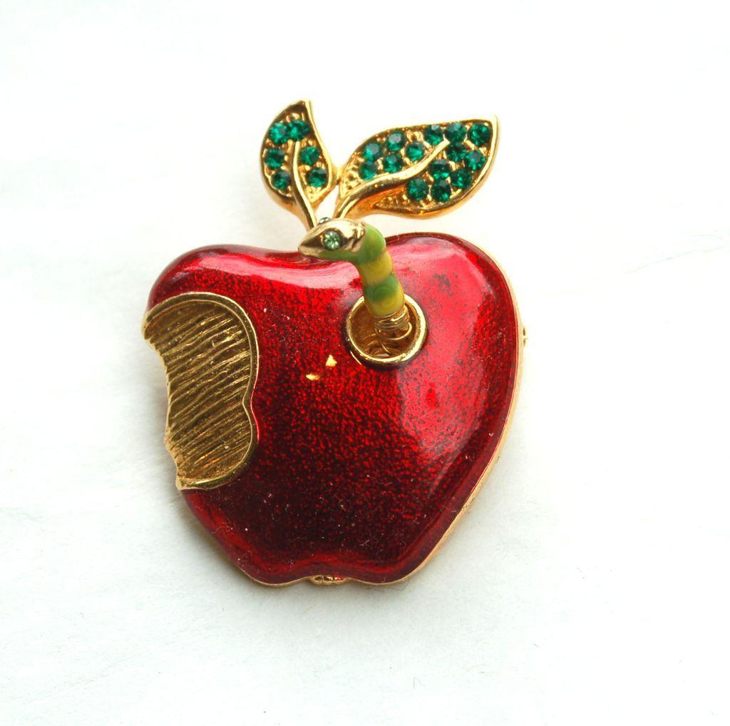 Vintage Enameled Apple Pin With Trembler WORM