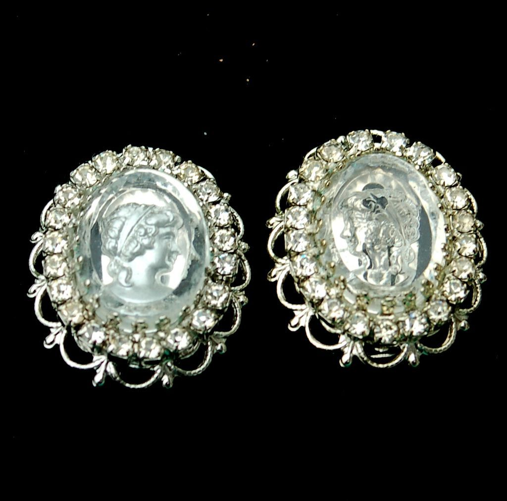 Vintage Signed JOSEPH WARNER Reverse Carved Intaglio Cameo Earrings